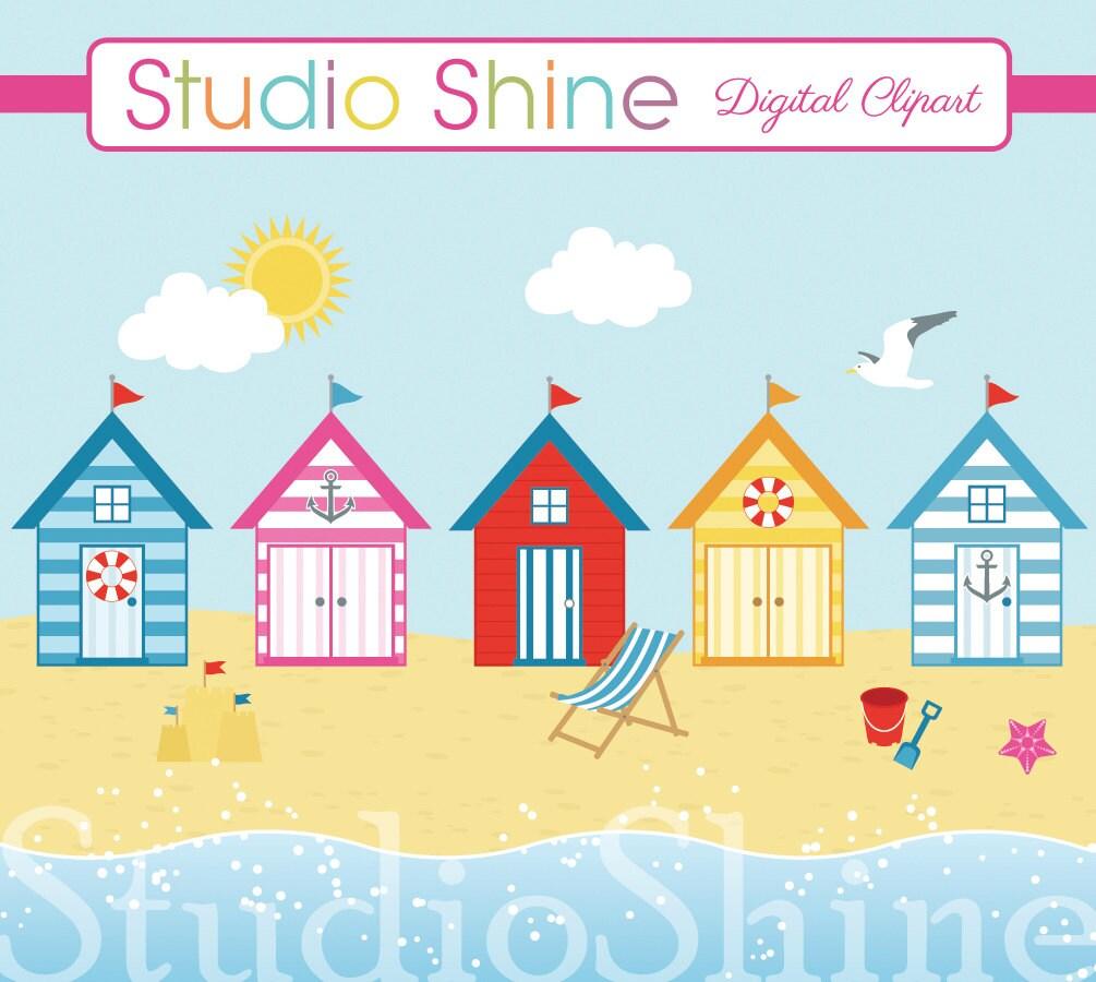 Digital Clipart By The Seaside Beach Hut Nautical Ocean