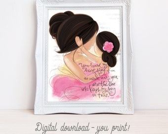 INSTANT DOWNLOAD Mother Daughter Art Print for Girl's Room Decor, Nursery Wall Art, Mother and Child, Gift for New Mom Mother's Day