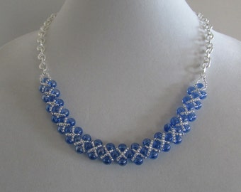 Light Blue Acrylic Bead Necklace and Earrings with Silver Embellishements