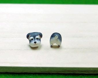 Miniature Schnauzer Earrings - Schnauzer Stud Earrings - Dog Earrings - Schnauzer Gift - Cute Earrings - Schnauzer Post Earrings - Dog Lover