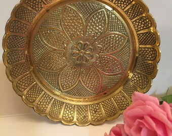 Vintage Brass Flower Dish, Flower Shaped Brass Trinket Dish