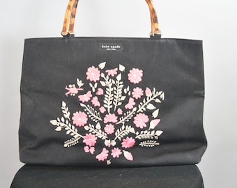 90s Kate Spade Purse// Embroidered Purse// Lined Purse Wood Handles (F1)