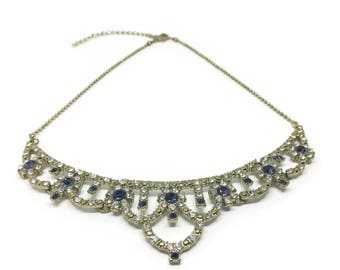 Vintage Diamante Necklace   Faux Sapphire Blue And White Rhinestones   Rhinestone Necklace   80s / 90s   Sparkly Necklace