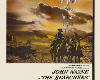 Spring Sales Event: THE SEARCHERS Movie Poster John Wayne Western Classic