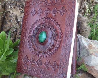 Leather Medieval Journal - Handmade Embossed Rustic Journal - Malaquite Leather Notebook - Leather Travel Book - Leather Blank Book