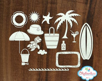 White chipboard vacation has sea summer vacation