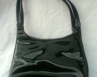 1960s Metal Frame Green Vinyl Kismet Creations Handbag Kiss Lock Closure Purse Bag 60s Mod Goldtone