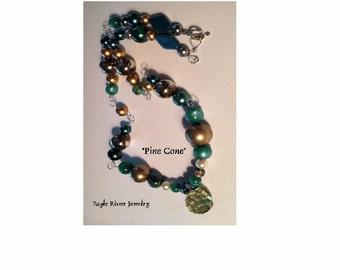 Pine Cone Natural Jade Stone Pendant Necklace