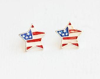 American Flag Star Studs, Flag Studs, Star Studs, Enamel Star Studs, Enamel Studs