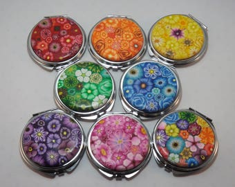 YOUR CHOICE COLOR Polymer Clay Embellished Compact Purse Mirror, Colorful Millefiori Floral