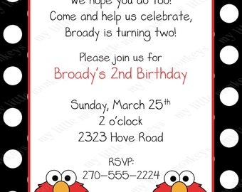 10 Elmo Polka Dot Birthday Invitations with Envelopes.  Free Return Address Labels