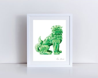 Green Foo Dog Art Foo Dog Painting Foo Dog Print Chinoiserie Foo Dog Hollywood Regency Decor Asian Decor Chinese Wall Art Green Jade Decor