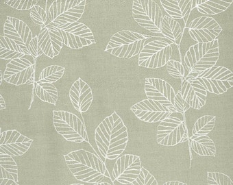 Au Maison oilcloth Nordic leaves Dusty green coated cotton