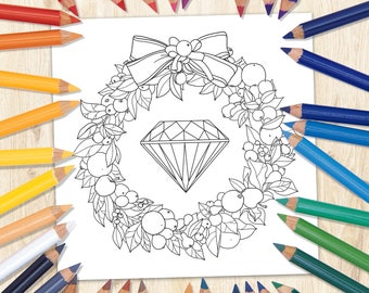 Crystal Coloring Page, Printable Coloring Page, Kids Coloring Page, Fairytale Coloring Page, Fairytale Art, Downloaded Coloring Page