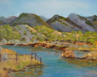 Original oil painting Terri Robertson fine art painting landscape painting original landscape river painting Utah Sevier River fall Autumn