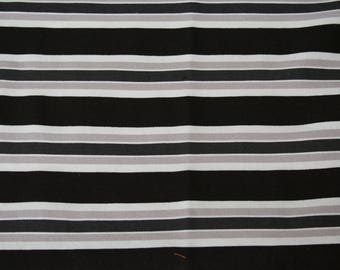 Fabric Remnant, Black Grey Stripes, 100% Cotton Fabric, 32 inches by 18 inches