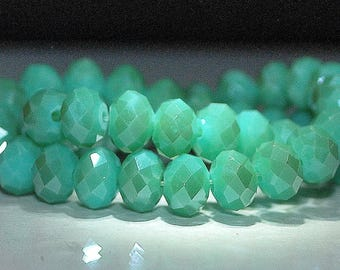 20 pcs 8x6mm Opaque Green Luster Faceted Rondelle Glass Beads OGL-6