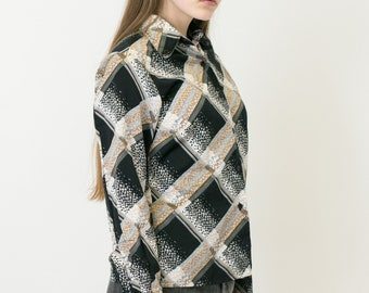 VINTAGE Multi Checked Patterned Long Sleeve Retro Shirt