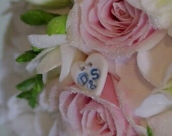 Wedding Bouquet Charm - Something Blue Wedding Charm - Personalised Wedding Charms - Personalised Button
