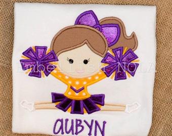 Purple and Gold Cheerleader Applique Shirt or Bodysuit
