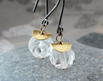 Clear Quartz  Earrings      Gold Filled  Oxidized Silver  Gemstone Jewelry Mixed Metal Rock Crystal Earrings Healing Crystal Gold And Silver