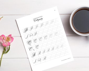 Best Seller - Copperplate Calligraphy Workbook - Digital Download Worksheets- Learn or Improve Your Copperplate Calligraphy