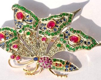 Intricate 14KT Emerald Ruby Diamond Butterfly Brooch
