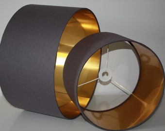 Dark Grey handmade drum lampshade with brushed gold lining available in variety of sizes