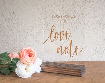 Leave Us a Love Note - Guest Book Sign - Acrylic Guest Book Sign - Wedding Sign Guest Book - Love Note Guest Book - Acrylic Wedding Sign