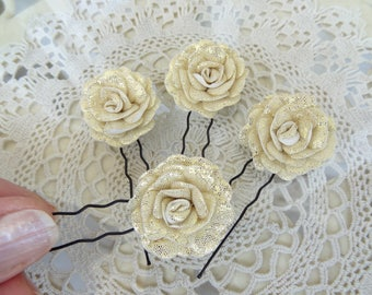 Ivory Gold Satin Rose Wedding Hair Pins, Ivory Gold Bridal Hair Pins, Hair Accessories, Satin Hair Pins, Bridesmaid Hair, Woodland- Set of 4