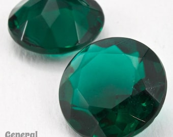 20mm Transparent Emerald Round Faceted Cabochon  #XS180-H