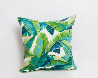 Green Outdoor Pillows, Green, Outdoor Pillow, Tropical Pillow, Leaf Pillow, Indoor Outdoor, All Weather, Designer Pillow, Tropical Decor