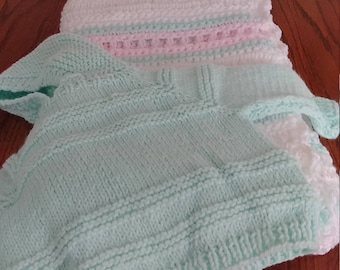 White Blanket with Pink and Mint Green Accents