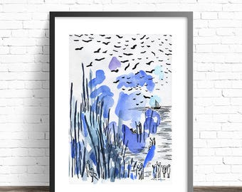 Blue Watercolor Abstract Landscape Print. Nature Watercolor Print. Abstract watercolor print. Abstract illustration. Modern Watercolor