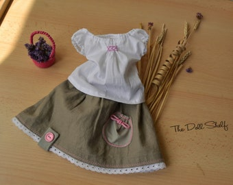 Flax skirt and blouse for doll 10 - 11 - 12 - 13 - 14 - 15 - 16 - 17 - 18 inch, Waldorf doll dress - Waldorf doll clothes - ocher doll dress
