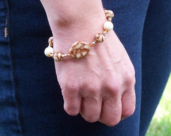 Golden Glow - Polymer Clay BeadSwarovski Crystal And Sterling Silver Bracelet SRAJD Clearance Sale 10 Dollars Off
