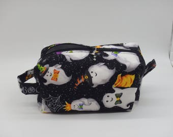 Halloween Makeup Bag, Ghosts Bag, Dopp Kit, Zip Pouch, Ditty Bag, Toiletry Kit, Shave Kit, Halloween Gifts, Cosmetics Bag