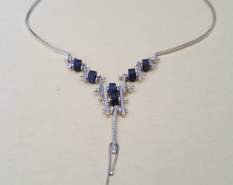 Denim Fine Silver Necklace with Tanzanite stone beads Handmade
