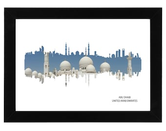Abu Dhabi Skyline Print with photo of the Grand Mosque