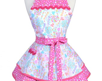Ruffled Retro Apron - Sweet Treats Pink Lollipops Kitchen Apron - Womens Sexy Cute Pinup Apron with Pocket - Monogram Option