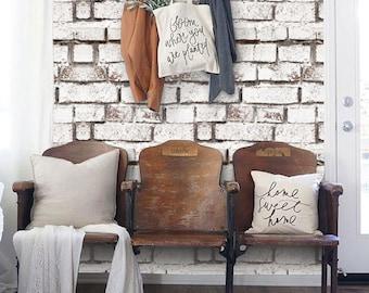 Vintage White Brick PEEL & STICK Repositionable  Fabric Wallpaper