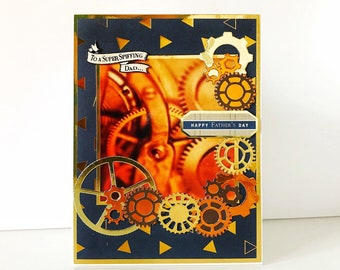 Steam punk style masculine card - gear mechanics manly card - luxurious and elegant card  for a man