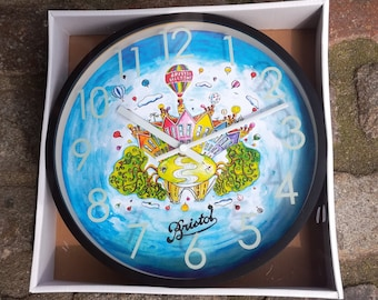 Original Colourful Bristol Wall Clock With Clifton Suspension Bridge and Colourful Houses