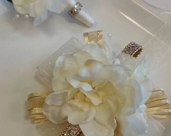 Wrist Corsage Champagne Antique Ivory  and Gold with Matching Boutonniere Prom Set Wedding  Homecoming