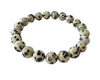 Genuine Dalmatian Jasper Bracelet, 4mm Dalmatian Jasper, 6mm Dalmatian Jasper, 8mm Dalmatian Jasper, Gemstone Bracelet, Intention Jewelry