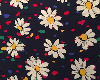 Vintage Cotton Daisy Pattern Fabric