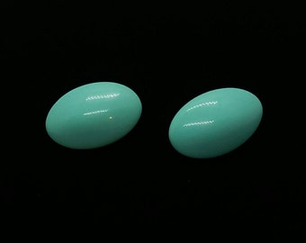 Aqua Blue Oval Earrings Retro 80's 90's earrings Silver Tone Stud Back