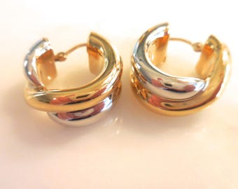 Huggie Hoop Earrings, Two Tone Earrings in 14 K Yellow and White Gold
