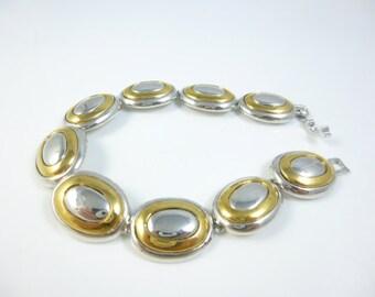 Chunky Bracelet,  Gold and Silver Bracelet, Oval Link,  Vintage Jewelry New