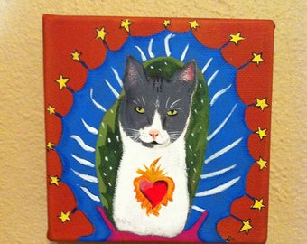 Custom pet portrait, Mexican Sacred Heart, Mexican Folk Art